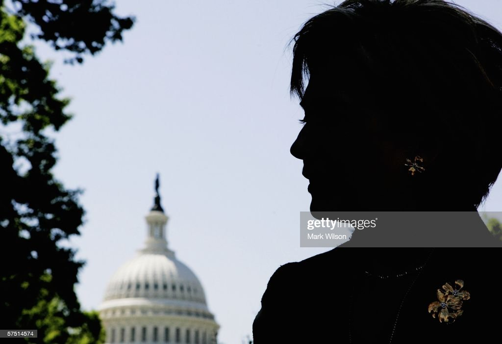 U.S. Senator Hillary Clinton (D-NY) is silhouetted as she stands near the U.S. Capitol before speaking May 2, 2006 in Washington, DC. Clinton was one of many speakers during the 'Working 2 Walk' rally held in honor of Dana Reeve, to urge Congress to pass the Christopher Reeve Paralysis Act.