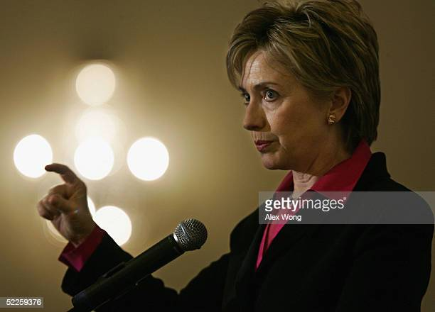 S Senator Hillary Rodham Clinton addresses the 2005 Plenum of Jewish Council for Public Affairs March 1 2005 at Omni Shorenham Hotel in Washington DC...