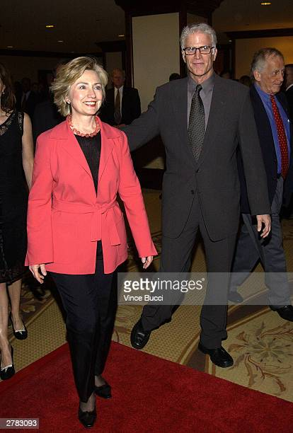 US Senator Hillary Rodham Clinton and actor Ted Danson attend the first Annual Oceana Partners Awards Dinner December 3 2003 in Los Angeles California