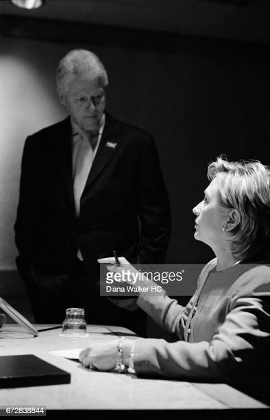 Senator Hillary Rodham Clinton and Former President William Clinton are photographed reviewing her acceptance speech on May 31 2006 at the Democratic...