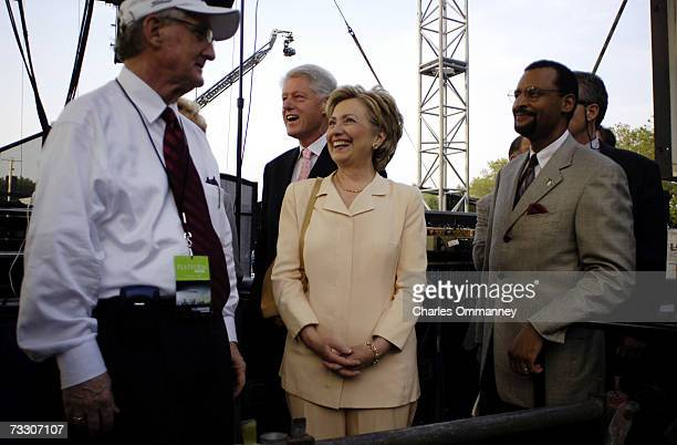 S Senator Hillary Rodham Clinton and her husband former President Bill Clinton attend evangelist Billy Graham's New York Crusade at Flushing Meadows...