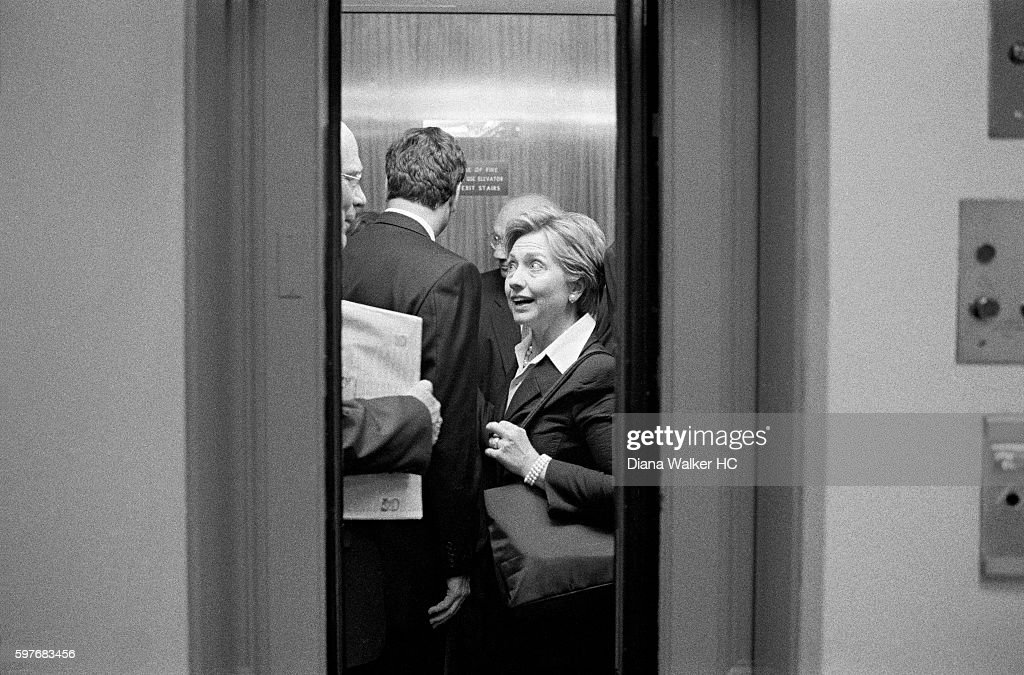 Senator Hillary Rodham Clinton and Senator Patrick Leahy are photographed for Time Magazine on July 19, 2010 in Washington DC. Senator Clinton and Senator Leahy squeeze into an elevator on her way to vote on an appropriation bill.