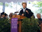 US Senator Hillary Rodham Clinton delivers her keynote remarks to members of the graduating class at Agnes Scott College's 116th Commencement...