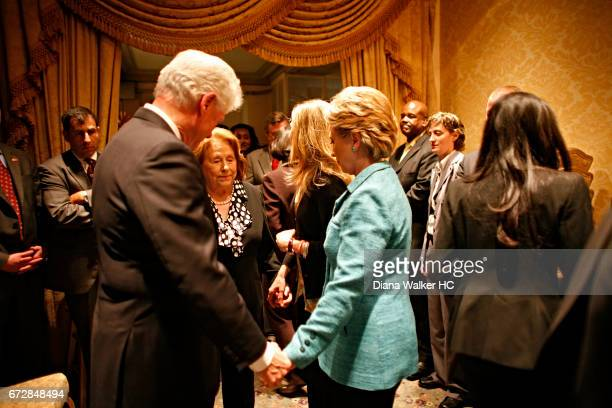 Senator Hillary Rodham Clinton former President William Clinton and mother Dorothy Rodham are photographed moments before hearing she won the...