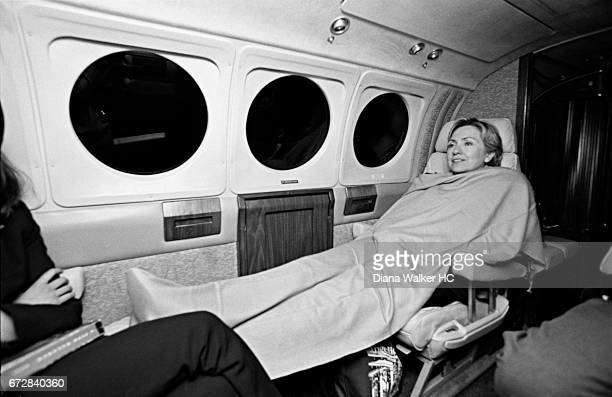 Senator Hillary Rodham Clinton is photographed at 930pm after a round of appearances in upstate New York on an airplane flying home on July 28 2001...