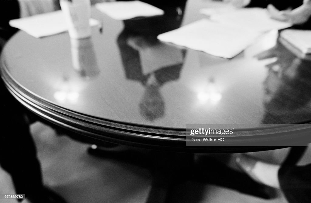 Senator Hillary Rodham Clinton is reflected in her office table on July 19, 2001 in Washington, DC.