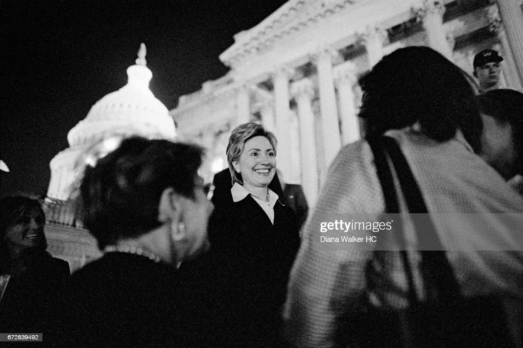 Senator Hillary Rodham Clinton leaves the Senate at 11:00pm and greets a few fans as she walks to her car on July 19, 2001 in Washington, DC.