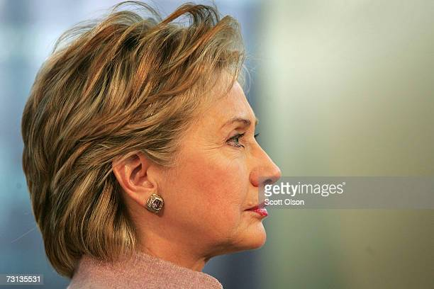 Senator Hillary Rodham Clinton speaks to supporters at a townhall style meeting January 28 2007 in Davenport Iowa Clinton was in Davenport finishing...