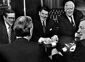 Senator Howard Baker President Ronald Reagan Speaker of the House Thomas O'Neill Congressman Jim Wright and Edwin Meese talk during a Budget Summit...