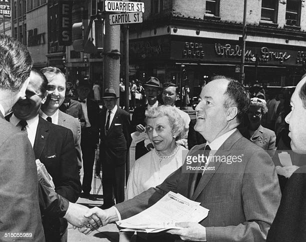 Senator Hubert H Humphrey and his wife Muriel during a campaign tour West Virginia May 1960