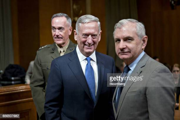 Senator Jack Reed a Democrat from Rhode Island from right James Mattis US secretary of defense and General Joseph Dunford chairman of the US Joint...