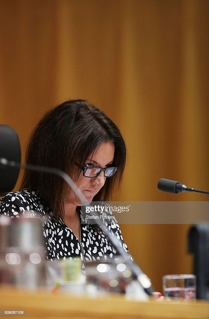 Senator <a gi-track='captionPersonalityLinkClicked' href=/galleries/search?phrase=Jacqui+Lambie&family=editorial&specificpeople=11459732 ng-click='$event.stopPropagation()'>Jacqui Lambie</a> questions Lieutenant General Angus Campbell DSC AM during the Foreign Affairs, Defence and Trade Committee hearing on February 10, 2016 in Canberra, Australia.