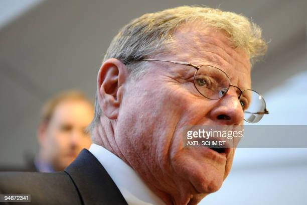 US senator James Inhofe makes a press statement at the Bella Center in Copenhagen on December 17 2009 on the 11th day of the COP15 UN Climate Change...