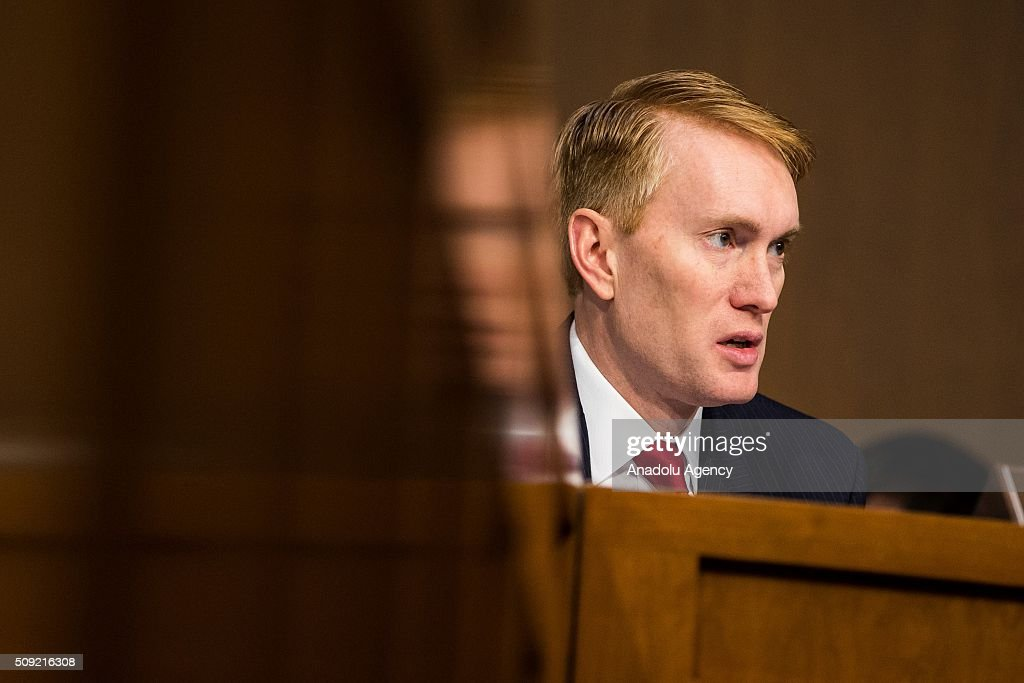 Senator James Lankford questions witnesses during a Senate Intelligence Committee hearing in Washington, USA on February 9, 2016.