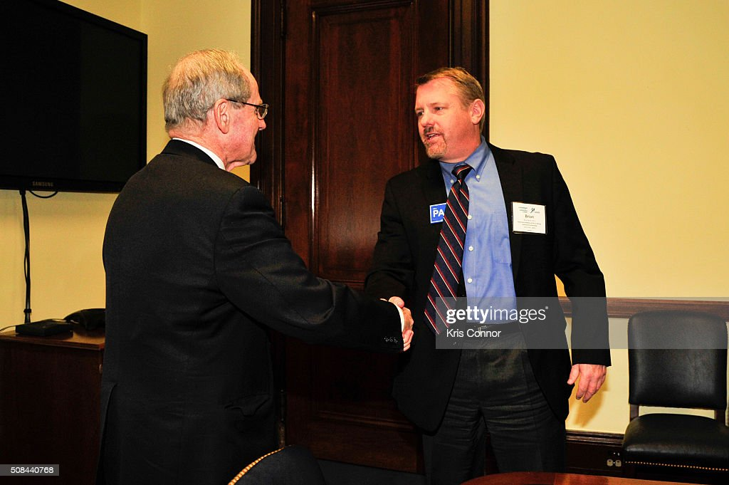 Senator James Risch (R-ID) meets with PA (physician assistant) Brian Bizik in Washington, DC about the need to reform federal law to allow PAs to prescribe buprenorphine for opioid addiction, as well as the important role PAs play in mental healthcare on February 4, 2016.