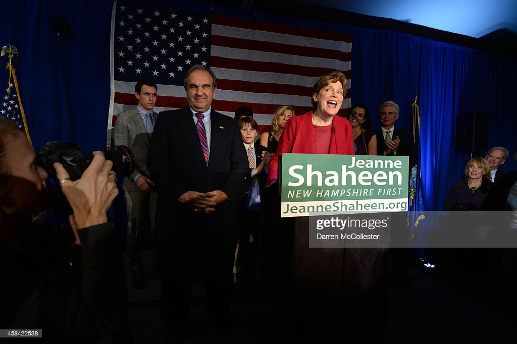U.S. Senator <a gi-track='captionPersonalityLinkClicked' href=/galleries/search?phrase=Jeanne+Shaheen&family=editorial&specificpeople=5591285 ng-click='$event.stopPropagation()'>Jeanne Shaheen</a> (D-NH) celebrates with supporters at the Puritan Conference Center November 4, 2014 in Manchester, New Hampshire. Shaheen beat former Massachusetts U.S. Senator Scott Brown in a tighty contested race.