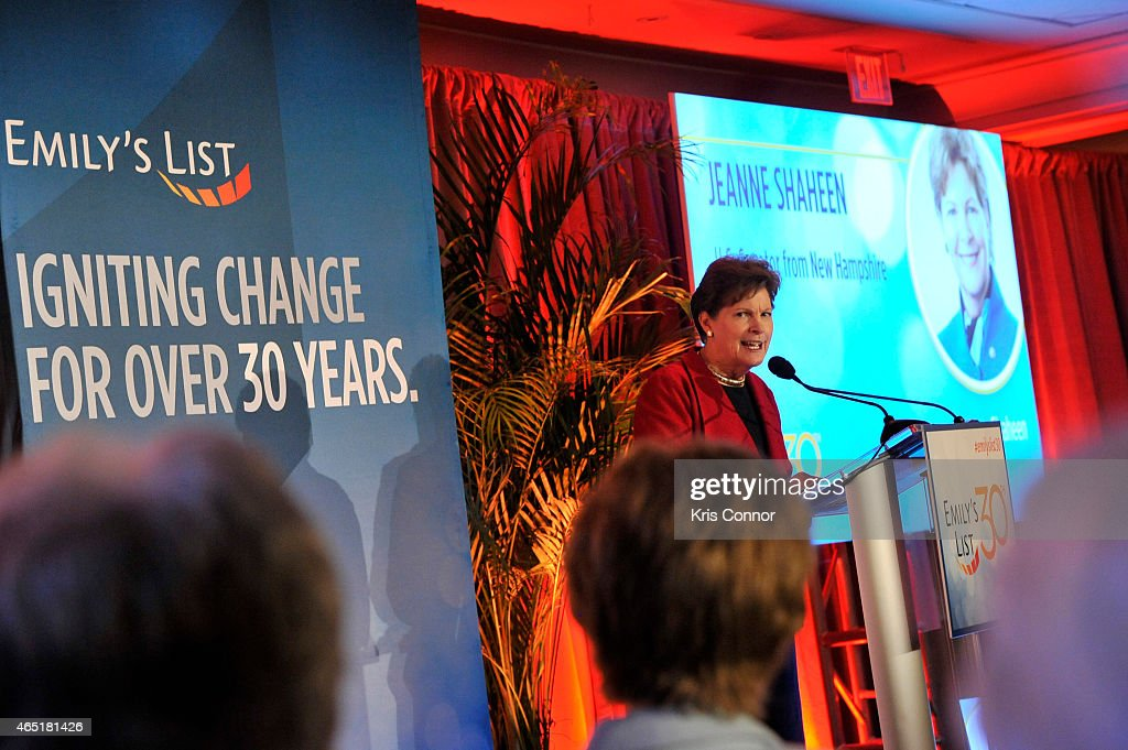 Senator <a gi-track='captionPersonalityLinkClicked' href=/galleries/search?phrase=Jeanne+Shaheen&family=editorial&specificpeople=5591285 ng-click='$event.stopPropagation()'>Jeanne Shaheen</a> speaks at EMILY's List 30th Anniversary Gala at Washington Hilton on March 3, 2015 in Washington, DC.