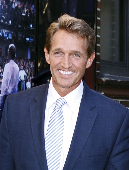 Senator Jeff Flake arrives for the 'Late Show with David Letterman' at Ed Sullivan Theater on October 27 2014 in New York City