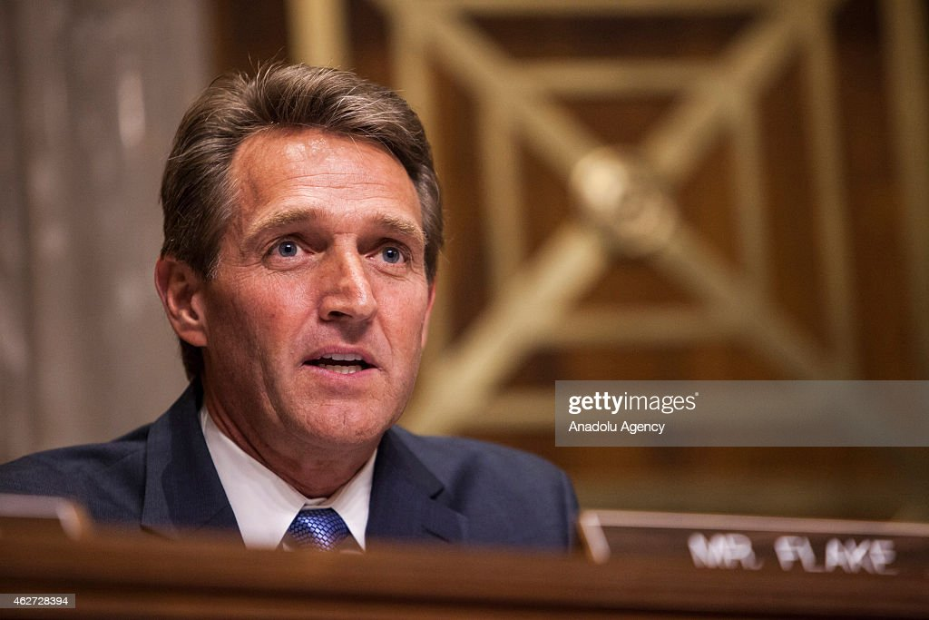 US Senator <a gi-track='captionPersonalityLinkClicked' href=/galleries/search?phrase=Jeff+Flake&family=editorial&specificpeople=2474871 ng-click='$event.stopPropagation()'>Jeff Flake</a> (R-AZ) speaks during a Senate Foreign Relations committee hearing on U.S. and Cuban relations in Washington, D.C. on February 3, 2015.