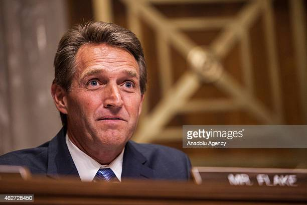 Senator Jeff Flake speaks during a Senate Foreign Relations committee hearing on US and Cuban relations in Washington DC on February 3 2015