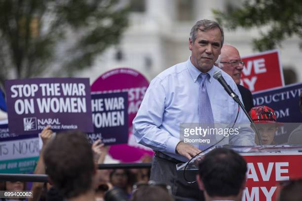 Senator Jeff Merkley a Democrat from Oregon speaks during a healthcare rally opposing the American Health Care Act bill on Capitol Hill in Washington...