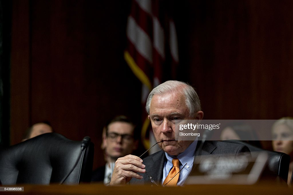 Senator Jeff Sessions, a Republican from Alabama, listens during a Senate Judiciary Committee hearing with Jeh Johnson, U.S. secretary of Homeland Security (DHS), not pictured, in Washington, D.C., U.S., on Thursday, June 30, 2016. Johnson said gun control is a matter of homeland security during the hearing. Photographer: Andrew Harrer/Bloomberg via Getty Images