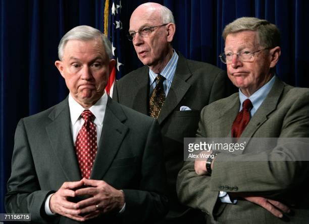 US Senator Jeff Sessions Senator Robert Bennett and Senator Conrad Burns pause as they attend a news briefing on the death tax June 8 2006 on Capitol...