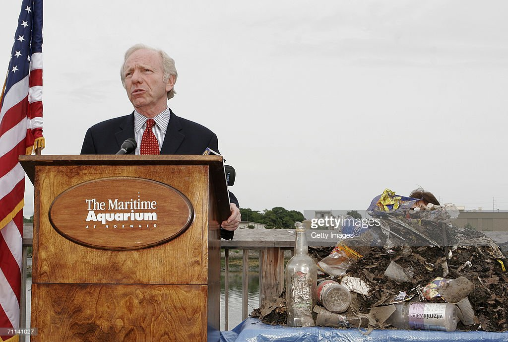 U.S. Senator Joe Lieberman discusses the Smart Sponge produced by AbTech Industries, Inc during a press conference at the Maritime Aquarium on June 5, 2006 in Norwalk, Connecticut. The Smart Sponge is a cost effective, non-toxic, non-leaching, fully recyclable filtration system that removes harmful petroleum substances like gasoline, oil & grease, sediment and debris, and kills bacteria such as E. coli and enterococcus on contact.