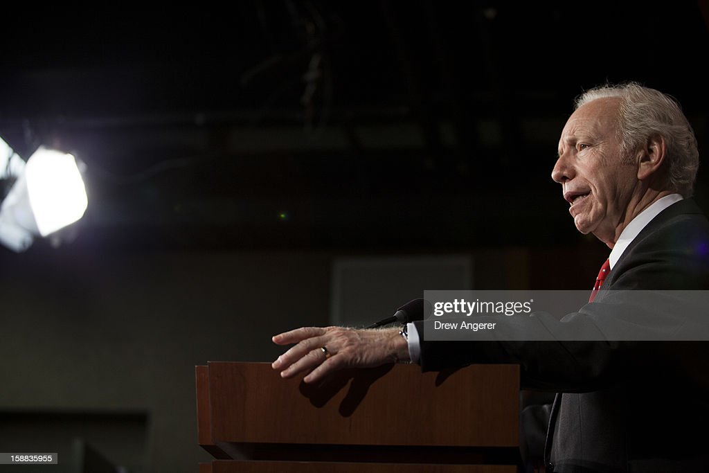U.S. Senator Joe Lieberman (I-CT) speaks during a press conference about their report on the Benghazi consulate attack, on Capitol Hill, on December 31, 2012 in Washington, DC. The report was released on Monday by the Senate Committee on Homeland Security and Government Affairs and cites 'extremely poor security in a threat environment.'