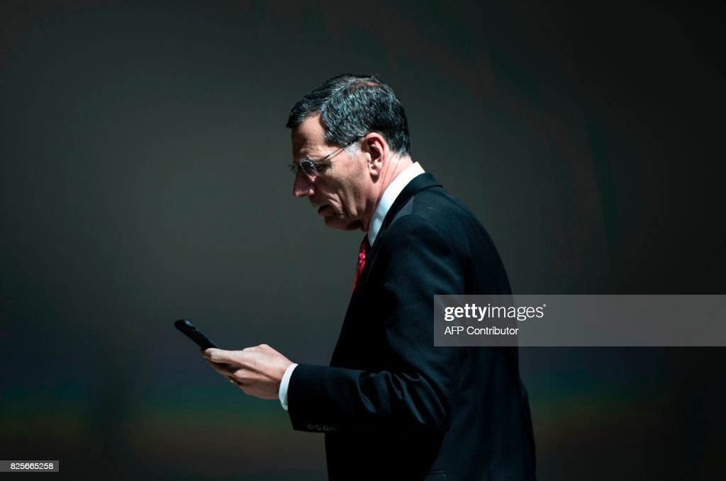 Senator John Barrasso (R-WY) leaves after attending a closed meeting of the Senate Foreign Relations Committee on Capitol Hill August 2, 2017 in Washington, DC. / AFP PHOTO / Brendan Smialowski