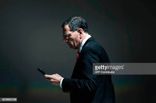 Senator John Barrasso leaves after attending a closed meeting of the Senate Foreign Relations Committee on Capitol Hill August 2 2017 in Washington...