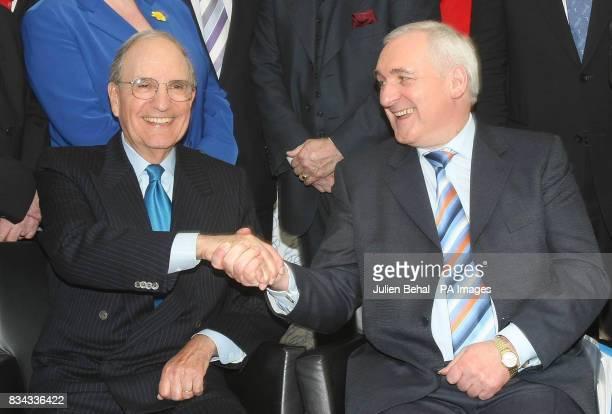 Senator John de Chastelain and Taoiseach Bertie Ahern in BBC studios Belfast where politicians who negotiated The Good Friday Agreement ten years ago...