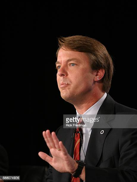 Senator John Edwards speaks during the AARP Democratic Presidential Candidate Forum at the Wayfarer Inn in Bedford New Hampshire