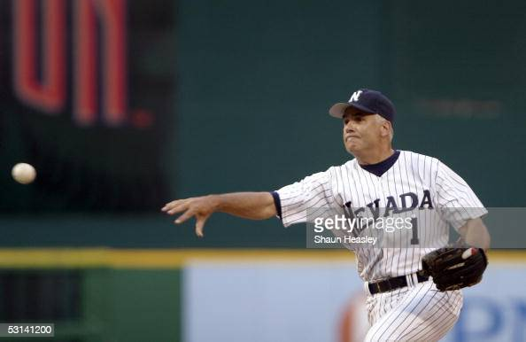 S Senator John Ensign throws a pitch at the 44th Annual Congressional Baseball Game on June 23 2005 at RFK Stadium in Washington DC The Democrats...