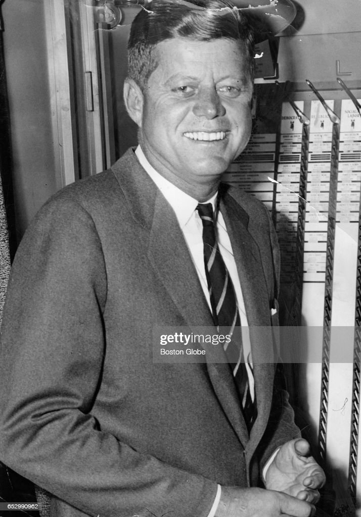 Senator John F. Kennedy after he voted in Massachusetts on Nov. 8, 1960. [exact location unknown]