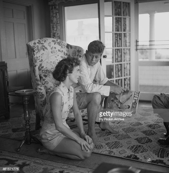 Senator John F Kennedy and fiance Jacqueline Bouvier are interviewed for a LIFE Magazine story while on vacation at the Kennedy compound in June 1953...