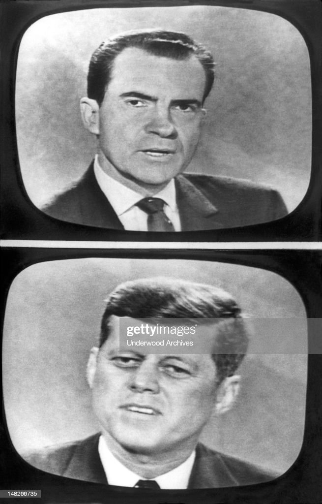 Senator John Kennedy and VicePresident Richard Nixon as they appeared on TV screens during their debate on October 13th Washington DC October 13 1960