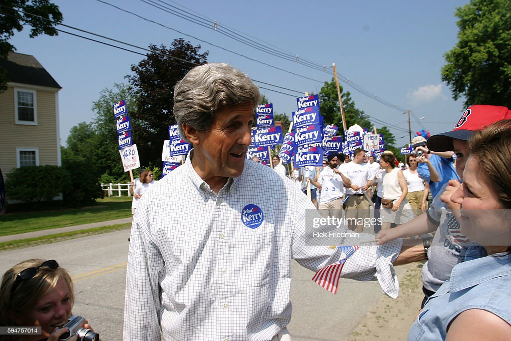 Senator John Kerry campaigning for President | Location Amherst New Hampshire United States