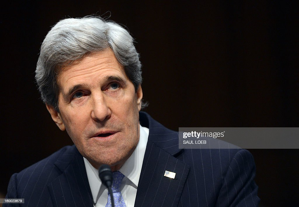 US Senator John Kerry, D-MA, US President Barack Obama's nominee for Secretary of State, testifies before the Senate Foreign Relations committee during his confirmation hearing on Capitol Hill in Washington, DC, on January 24, 2013. AFP PHOTO / Saul LOEB