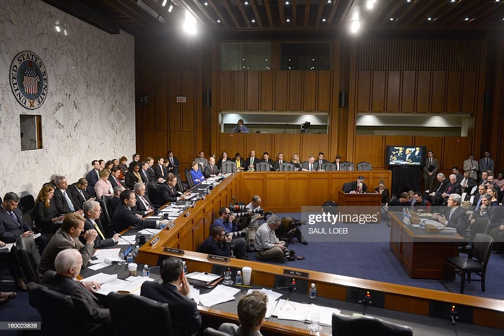 US Senator John Kerry(L), D-MA, US President Barack Obama's nominee for Secretary of State, faces his colleagues as he testifies before the Senate Foreign Relations committee during his confirmation hearing on Capitol Hill in Washington, DC, on January 24, 2013. AFP PHOTO / Saul LOEB