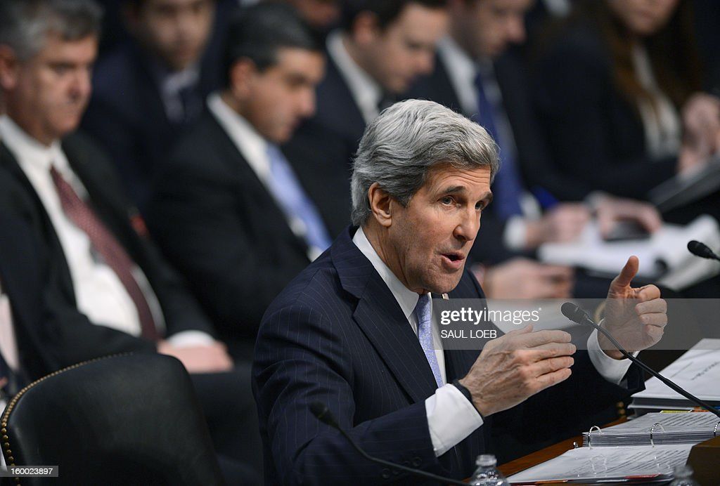 US Senator John Kerry, D-MA, US President Barack Obama's nominee for Secretary of State, faces his colleagues as he testifies before the Senate Foreign Relations committee during his confirmation hearing on Capitol Hill in Washington, DC, on January 24, 2013. AFP PHOTO / Saul LOEB