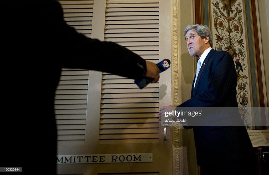 US Senator John Kerry ,D-MA, US President Barack Obama's nominee for Secretary of State, arrives for a Senate Foreign Relations Committee markup before voting on Kerry as Secretary of State, at the US Capitol in Washington, DC, on January 29, 2013. The committee approved Kerry's nomination. AFP PHOTO / Saul LOEB