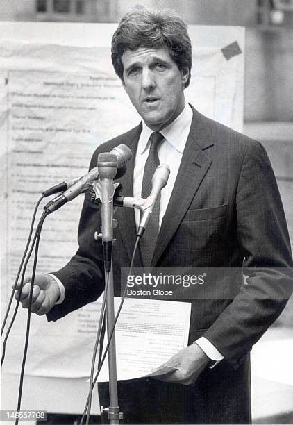 Senator John Kerry in Pemberton Square outside Superior Court at a press conference called to hammer home his allegations that opponent Jim Rappaport...