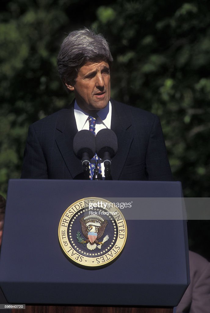 Senator John Kerry speaks at the dedication ceremony of the Thoreau Institute at Walden Woods