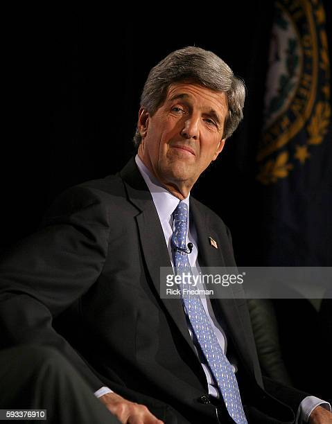 Senator John Kerry speaks during the AARP Democratic Presidential Candidate Forum at the Wayfarer Inn in Bedford New Hampshire