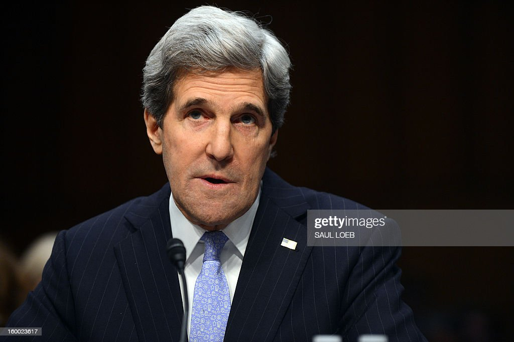 US Senator John Kerry(D-MA), US President Barack Obama's nominee for Secretary of State, testifies before the Senate Foreign Relations committee during his confirmation hearing on Capitol Hill in Washington, DC, on January 24, 2013. AFP PHOTO / Saul LOEB