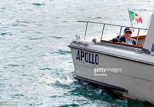 Senator John McCain a Republican from Arizona is seen on a boat during a break in sessions at the Ambrosetti Workshop in Cernobbio near Como Italy on...