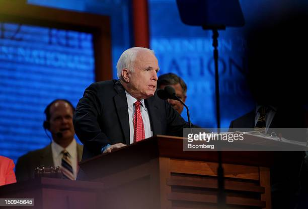 Senator John McCain a Republican from Arizona speaks during a sound check at the Republican National Convention in Tampa Florida US on Wednesday Aug...