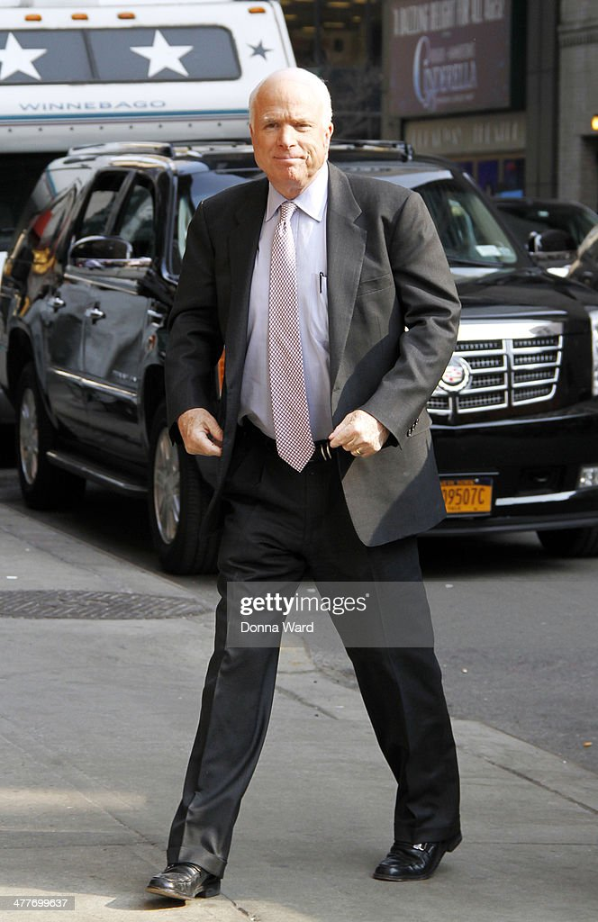 Senator <a gi-track='captionPersonalityLinkClicked' href=/galleries/search?phrase=John+McCain&family=editorial&specificpeople=125177 ng-click='$event.stopPropagation()'>John McCain</a> arrives for the 'Late Show with David Letterman' at Ed Sullivan Theater on March 10, 2014 in New York City.