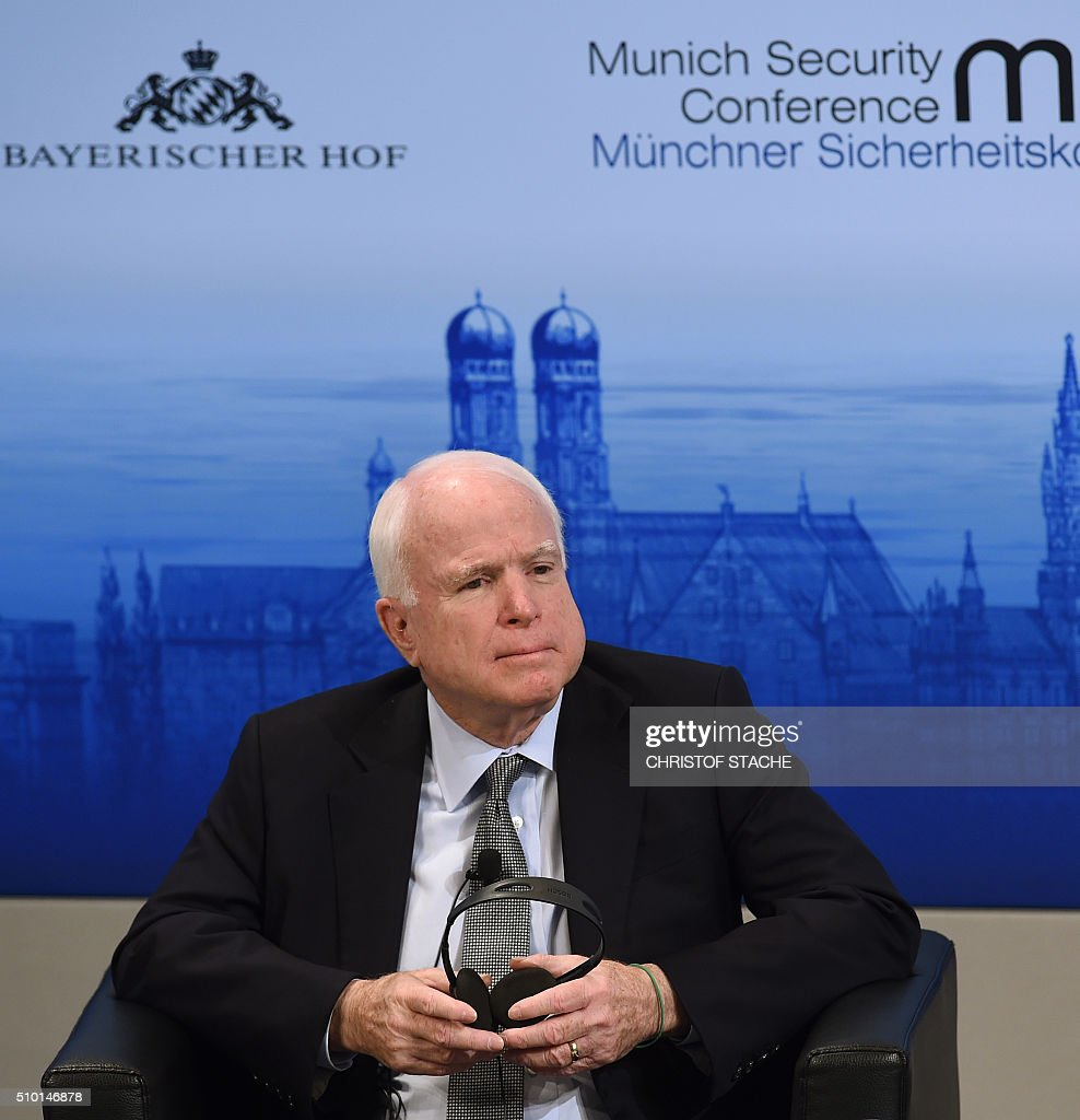 US Senator John McCain attends a panel discussion on the third day of the 52nd Munich Security Conference (MSC) in Munich, southern Germany, on February 14, 2016. / AFP / Christof STACHE